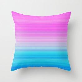 Pink & Aquamarine Blue Stripes Throw Pillow