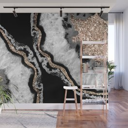 Yin Yang Agate Glitter Glam #8 #gem #decor #art #society6 Wall Mural