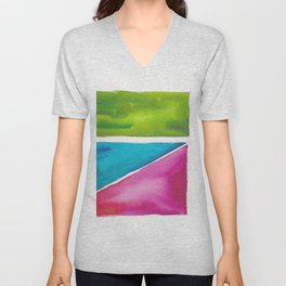180811 Watercolor Block Swatches 5| Colorful Abstract |Geometrical Art Unisex V-Neck