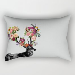 Spring Itself Deer Floral Rectangular Pillow
