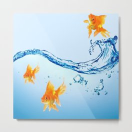 GOLDFISH AQUARIUM WATER ART Metal Print