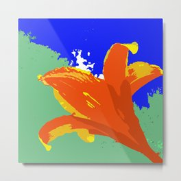 Daylily in Surreal Orange, Yellow, Blue Sky, Green Trees Metal Print