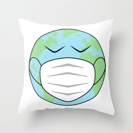 Face Mask Pandemic Sad Earth Hand Drawn Throw Pillow