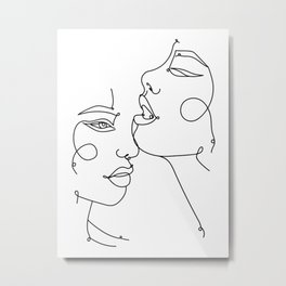 Secret - Minimalist Two Faces in one Line Metal Print