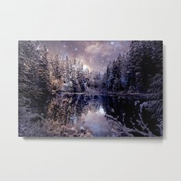 A Cold Winter's Night Neutral Beige Navy Blue Metal Print