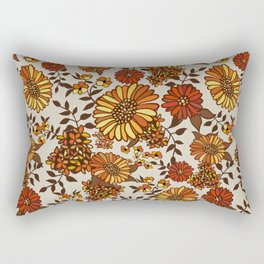 Retro 70s boho hippie orange flower power Rectangular Pillow