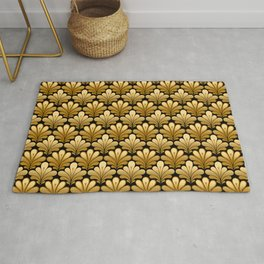 Art Deco Shell Pattern, Gold and Black Rug