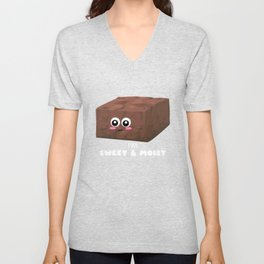 I'm Sweet And Moist Funny Brownie Pun Unisex V-Neck