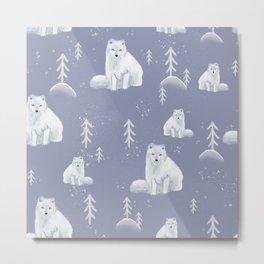 Arctic Foxes pattern Metal Print