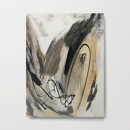 Drift [5]: a neutral abstract mixed media piece in black, white, gray, brown Metal Print