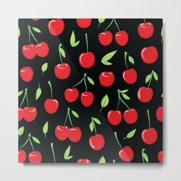 Cheerful cherry pattern. Colorful cherries on black Metal Print