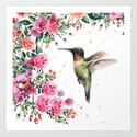 Hummingbird and Flowers Watercolor Animals by olechka