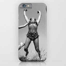 Sing!  Love!  Jump!  Dance! - Three female figures in bliss at the beach black and white photograph / photography iPhone Case