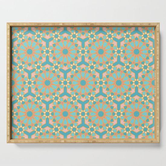 Elegant pastel islamic geometric pattern, teal & orange ...