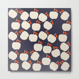 Cute Apple Pattern on Blue Background Metal Print