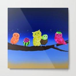 Fruit Owls Metal Print