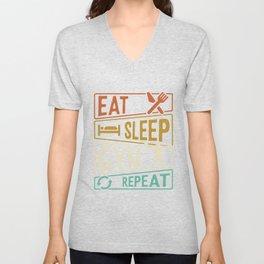 Eat Sleep Gym Repeat Gym Unisex V-Neck