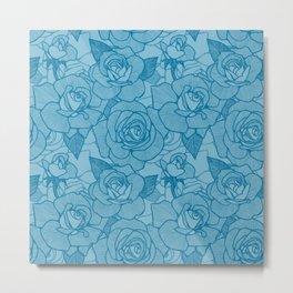 Mosaic Blue Roses 2 Metal Print