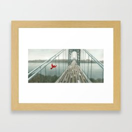 Red and the George Washigton Bridge Framed Art Print