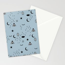 Mystic elements and indian spiritual moon phase and universe wisdom pattern blue Stationery Cards