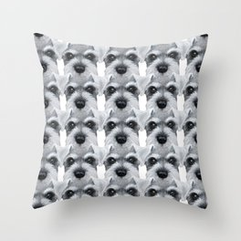 Schnauzer pattern-Grey Dog illustration original painting print Throw Pillow