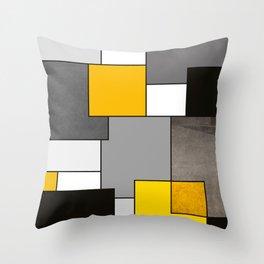 Black Yellow and Gray Geometric Art Throw Pillow
