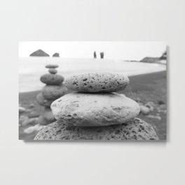Rock Stacking Black and White Metal Print