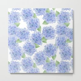Elegant lavender lilac watercolor hydrangea floral Metal Print