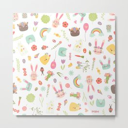 Colorful Easter Clipart Pattern Metal Print