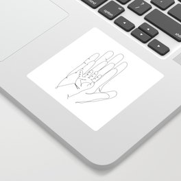 Family of Three Hands in One Line Art Sticker
