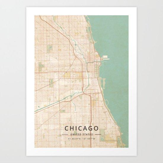 Chicago, United States - Vintage Map by designermapart