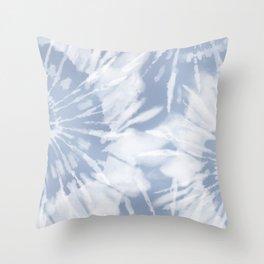 blue grey soft tie dye Throw Pillow