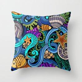 Sea Life Set Throw Pillow