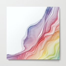 Rainbow Ripples - Alcohol Ink Abstract Metal Print
