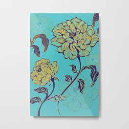 Botanical Blues Series - Peonies Metal Print