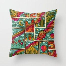 Traveling Rainbow Throw Pillow
