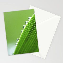 On The Edge Of Green - Water Drops Macro Stationery Cards
