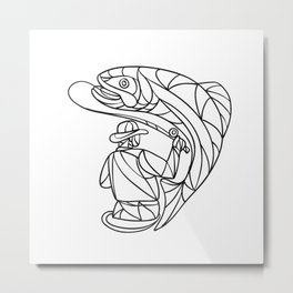 Fly Fisherman Catching Trout Mosaic Black and White Metal Print