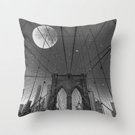 Blood Moon over Brooklyn Bridge and New York City Throw Pillow