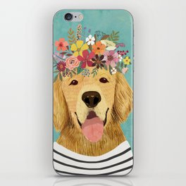 Golden Retriever Dog with Floral Crown Art Print – Funny Decoration Gift – Cute Room Decor – Poster iPhone Skin