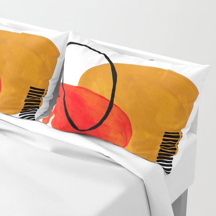 Mid Century Modern Abstract Vintage Pop Art Space Age Pattern Orange Yellow Black Orbit Accent Kissenbezug