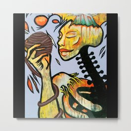 Skeleton Woman Tattoo Macabre Oil and Acrylic Painting Metal Print