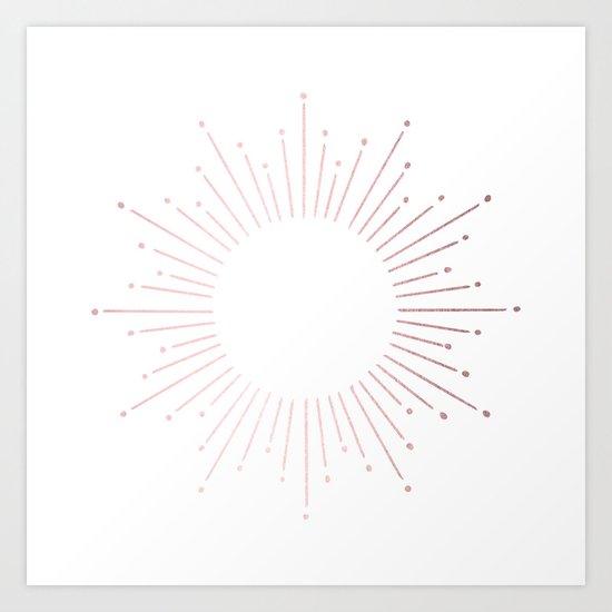 Sunburst Rose Quartz Elegance on White by followmeinstead