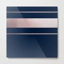 Navy Blue and Rose Gold Stripe pattern Metal Print