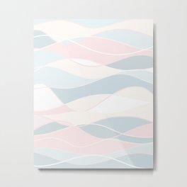 Pastel Waves // Beach Surf Light Colors Peach Blush Aqua Ocean Tides Vintage Surfing Vibes Metal Print