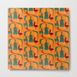 Ethnic pattern with woman, chicken, horse Metal Print