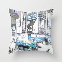 Times Square II (colour sketch style) Throw Pillow