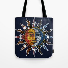 Celestial Mosaic Sun and Moon Tote Bag
