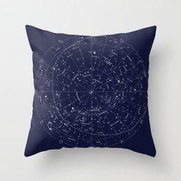 Constellation Map Indigo Throw Pillow