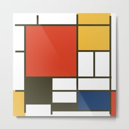 Mondrian Square Metal Print